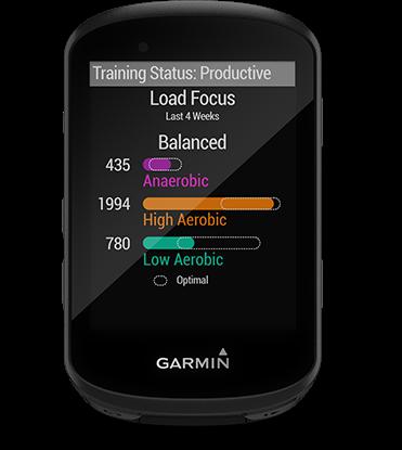 Edge 530 con la pantalla de seguimiento de las dinámicas