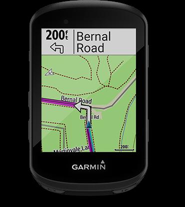 Edge 530 con la pantalla de cálculo de ruta