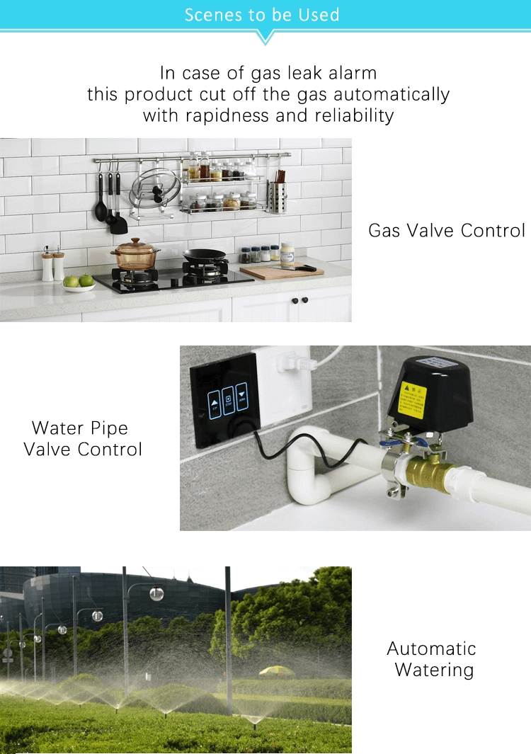 Smart Home Automation Wireless Wifi Control Intelligent Water Valve Gas Valve Supports Voice Control