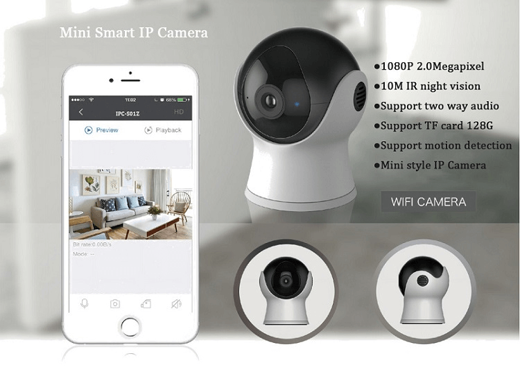 Mini Style 1080P Full HD P2P wifi wireless smart security IP Camera with two way audio