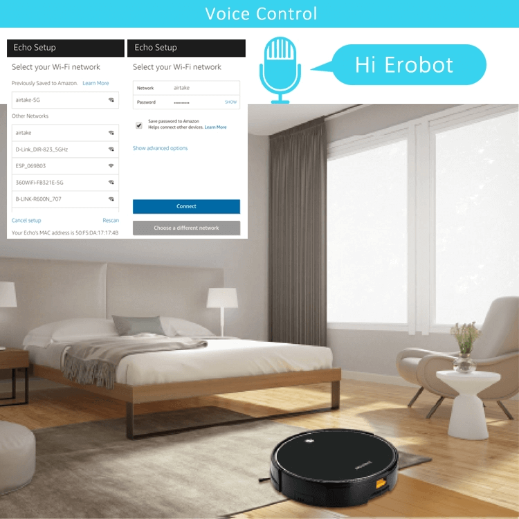 Smart Life APP WIFI Controlled Robot Vacuum Cleaner Compatible With Amazon Echo Show
