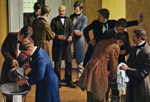 Après ses premières constatations, Ignace Semmelweis demande à tous ses étudiants de se laver les mains avant de pratiquer un accouchement. DR