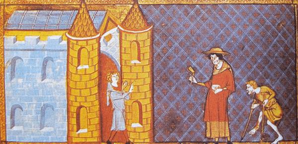 Deux lépreux demandant l'aumône, d'après un manuscrit de Vincent de Beauvais, XIIIe siècle.