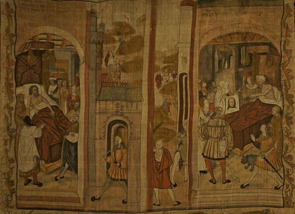 Tapisserie représentant Vespasien atteint de la lèpre, Hospices de Reims, v. 1500.