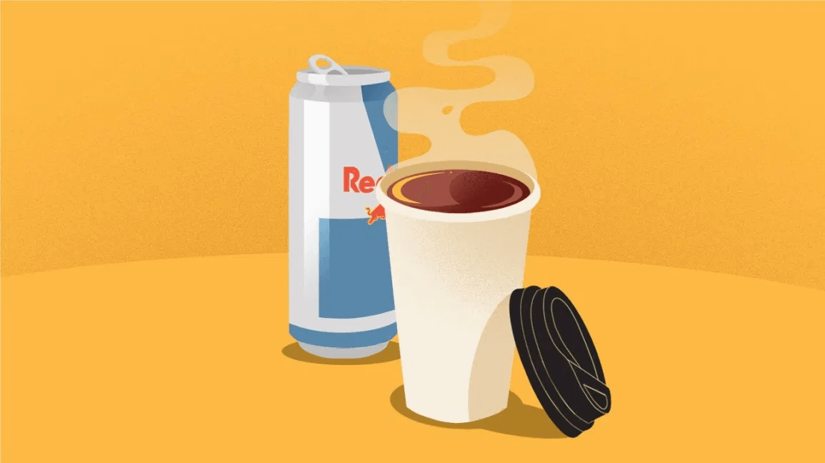 a can of Red Bull and a steaming cup of coffee