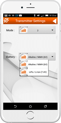 Select Transmitter Mode and Battery Type