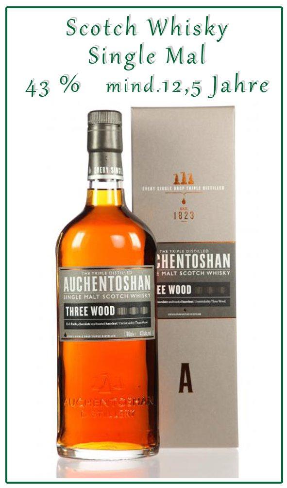 Das ist der kräftige Three Wood von Auchentoshan. Nach etwa 10 Jahren Reifung in Ex-Bourbonfässern erfolgt eine Nachreifung für 2 Jahre im Oloroso Sherryfass bevor es für 6 weitere Monate zur Schlussreifung in ein süßes Pedro Ximenez Sherryfass geht.