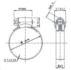 Desenho abraçadeira inox modelo Micro
