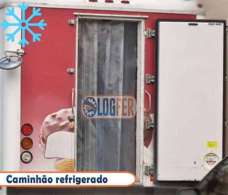 Caminhão frigorifico com cortina de pvc para camara fria