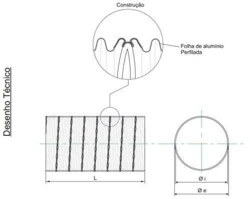 desenho técnico tubo de alumínio flexível