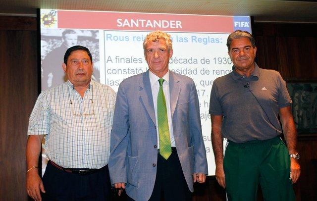 Villar, junto a Arminio y Díaz Vega, durante las Jornadas Arbitrales del CTA en 2015.