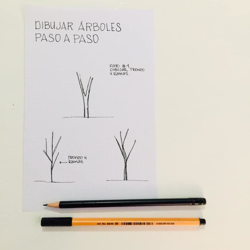 Dibujar árboles, mano alzada