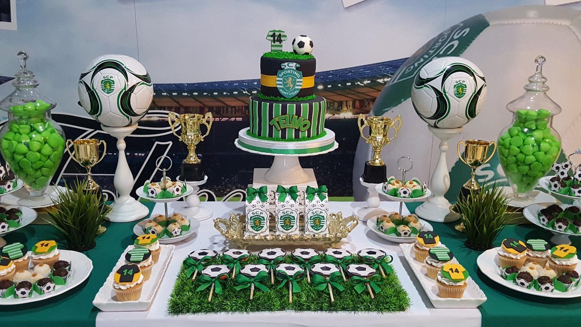 Decoração mesa de festa de anos SCP Sporting Club de Portugal