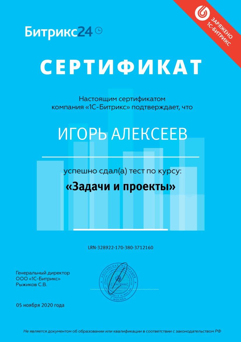 Сертификат Задачи и проекты