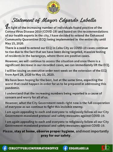 Cebu City Mayor Edgar Labella fb post abot ECQ extension