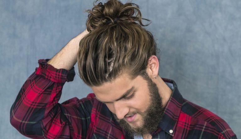Guys with long hair a man bun
