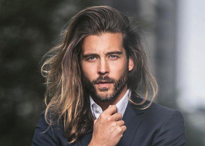 volume hairstyle long hair man