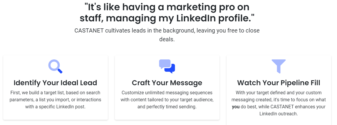 Traditional LinkedIn outreach is slow and time-intensive. CASTANET's sophisticated toolkit unlocks new revenue streams for agencies, and takes businesses to the next level.