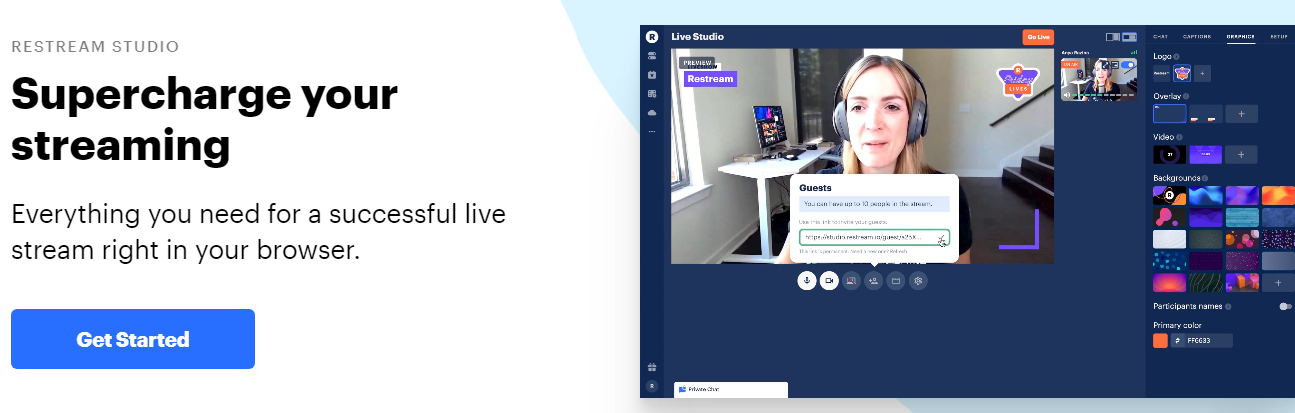 Restream is a cloud multistreaming service. It allows users to simultaneously stream video content to multiple platforms and social networks, including Facebook, YouTube, Twitch, Mixer, and LinkedIn.