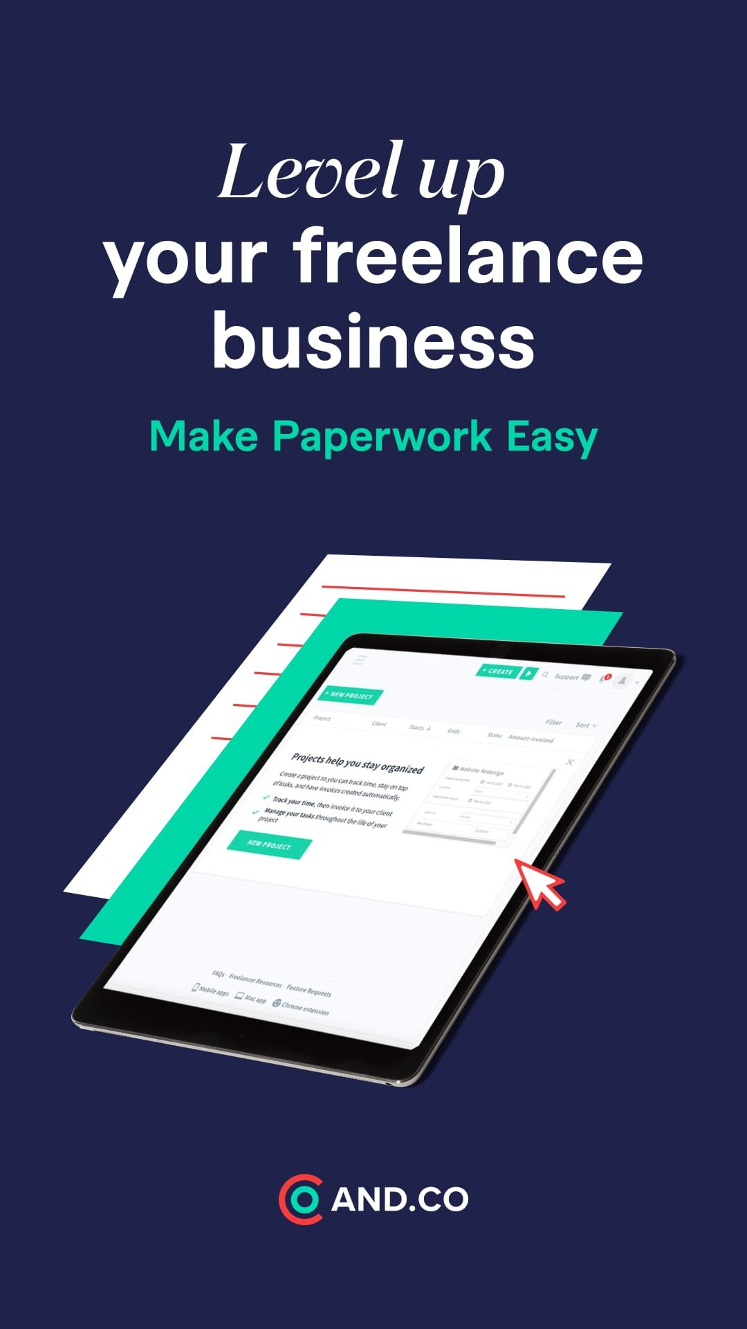 AND.CO is a business management software designed for Entrepreneurs, Freelancers, Studios, etc. It is an one-stop-app for preparing proposals, contracts, projects, invoices, payments, time tracking, task management, income & expense tracking and reporting.