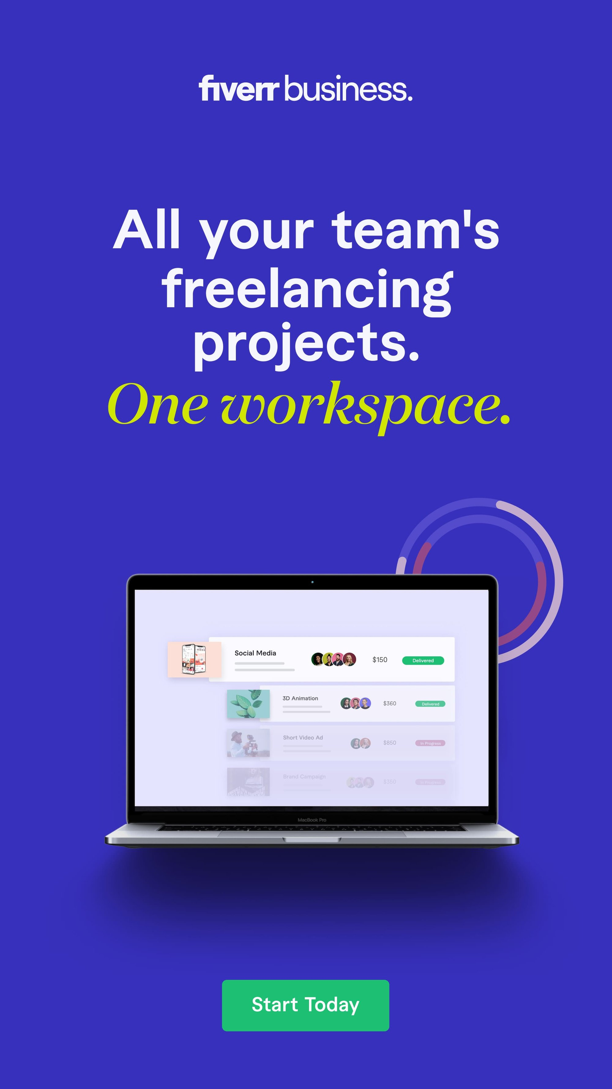 Fiverr Business is a freelance platform designed for corporate teams and departments to collaborate each other while managing Freelancing Project.