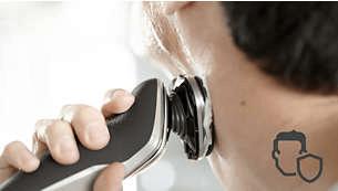 Profilo della testina arrotondato che scorre sulla pelle, proteggendola