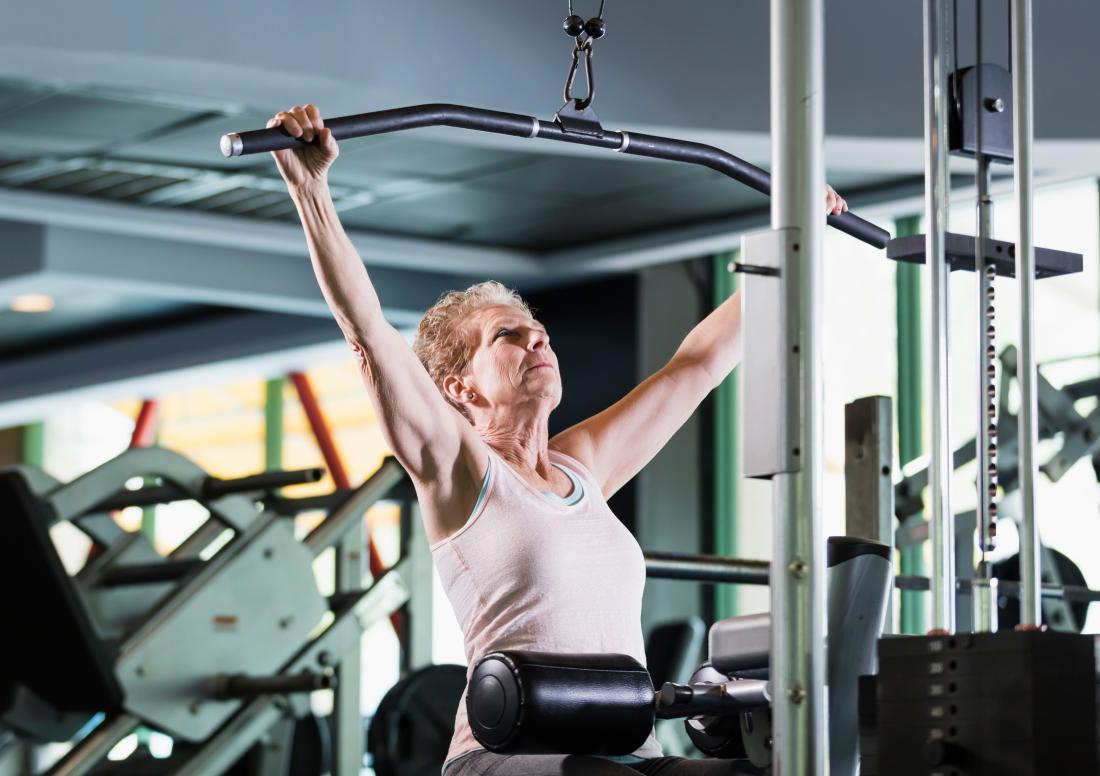 A woman doing strength training.
