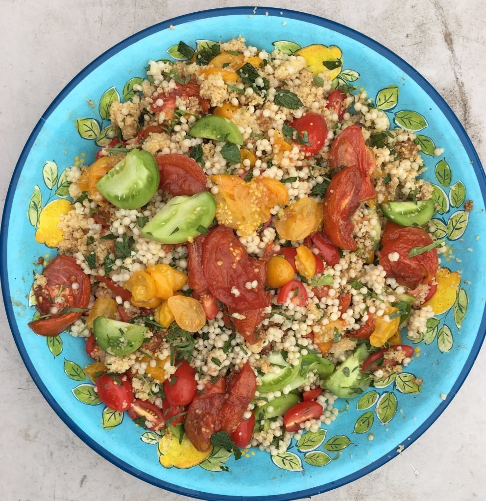 Tomato dish with Israeli couscous