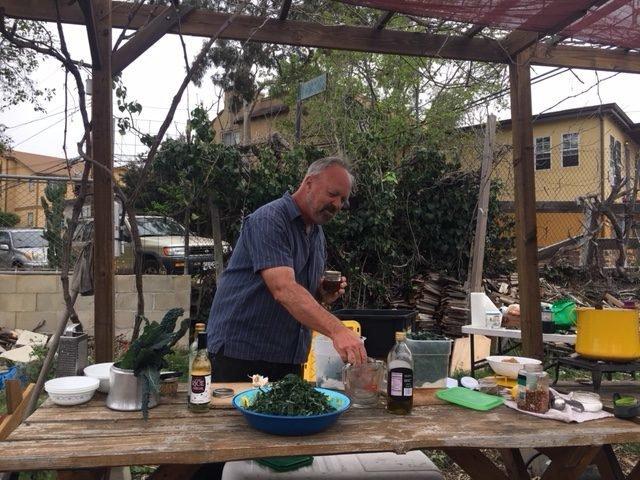 Joe Corso prepares kale salad
