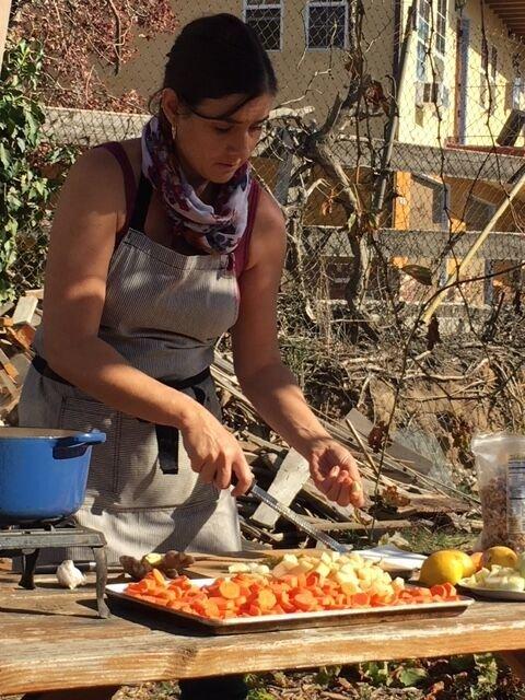 Aliye Aydin prepares carrot dish