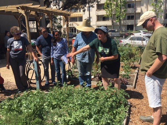 Rachel Bruhnke demonstrates the benefits of healthy soil