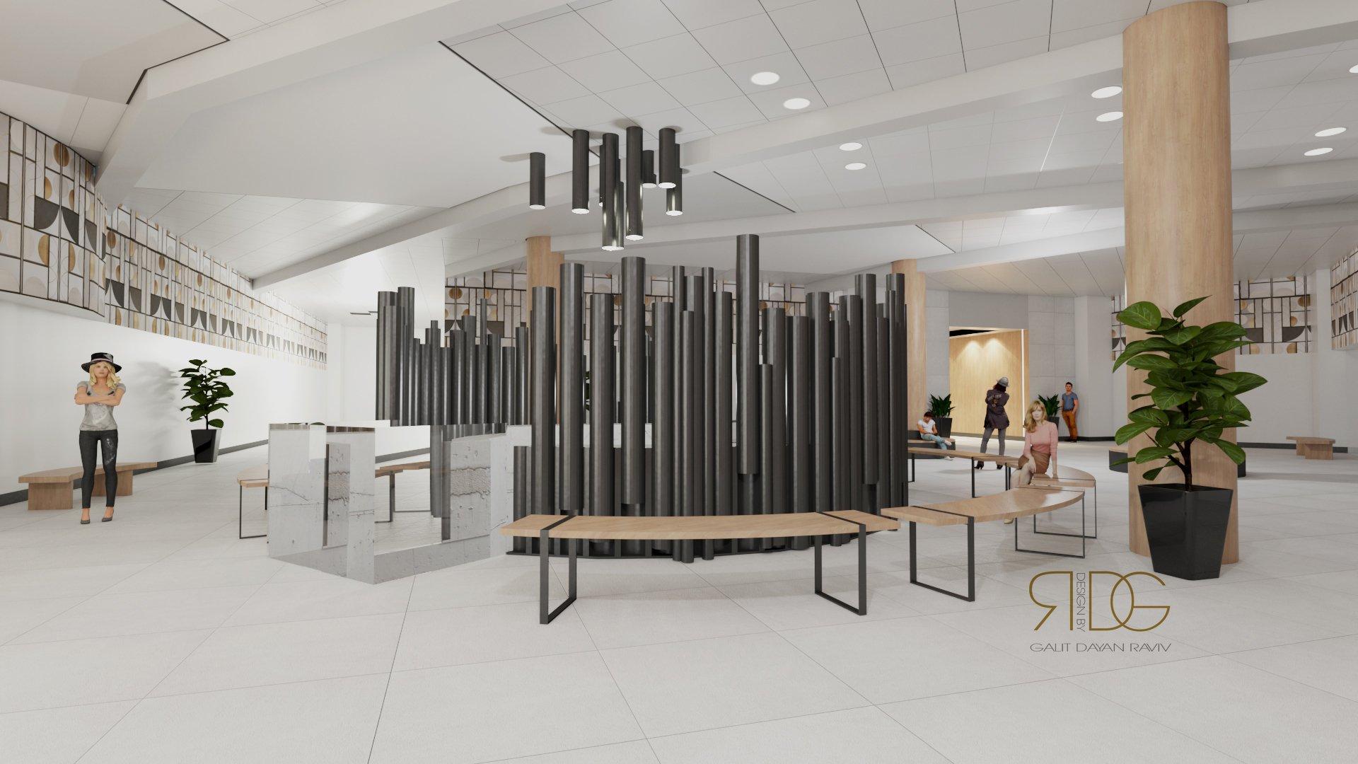 עיצוב לובי בניין משרדים