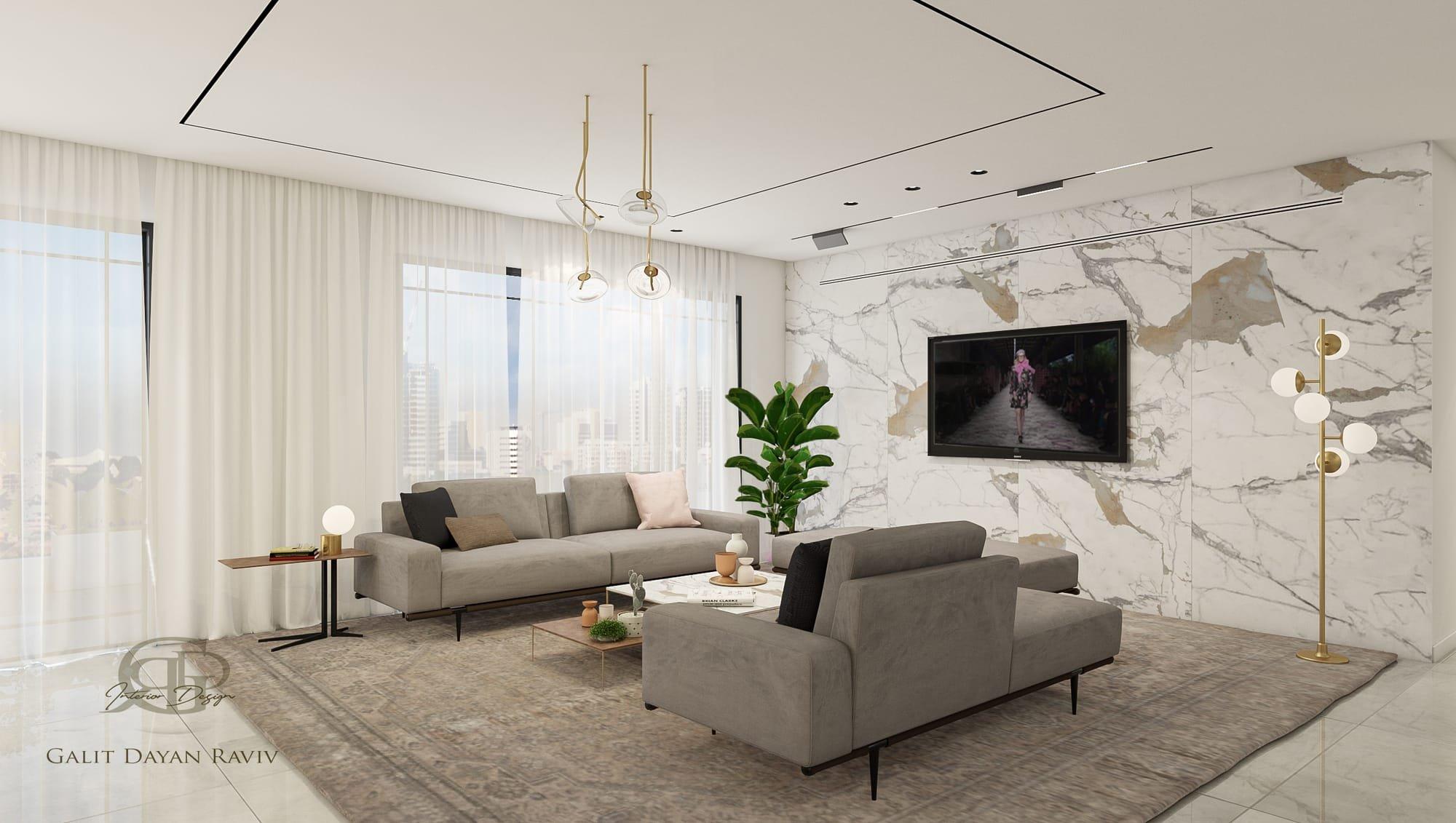 עיצוב סלון חיפוי קיר טלויזיה בשיש