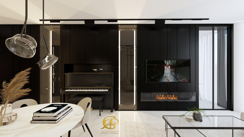 מיקרו ליבינג מבט אל עבר קיר הטלויזיה והפסנתר שחוצה את הדירה