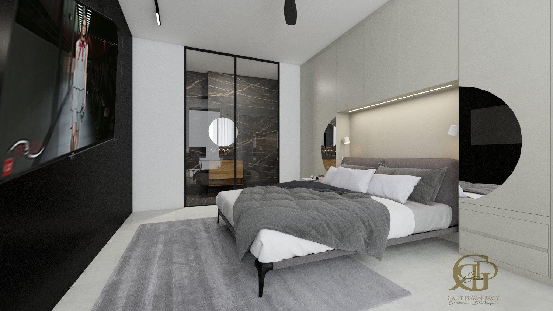 חדר שינה מבט אל עבר חדר הרחצה