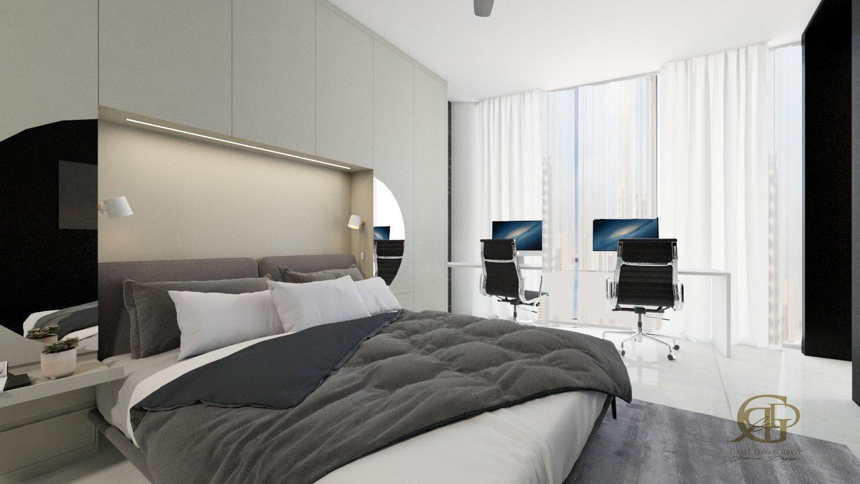 חדר שינה מבט אל עבר פינת העבודה