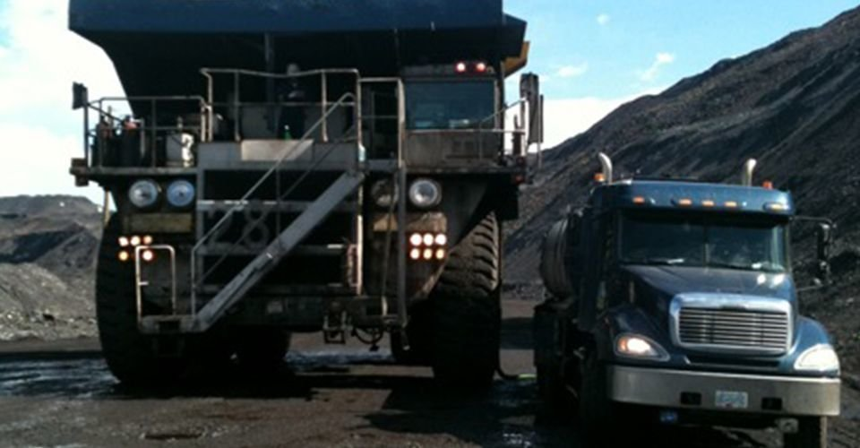Calcium chloride and ligno sulphonate dust suppression system, Williams Lake, BC.  Call Triple P Sanitation 250-392-4414.