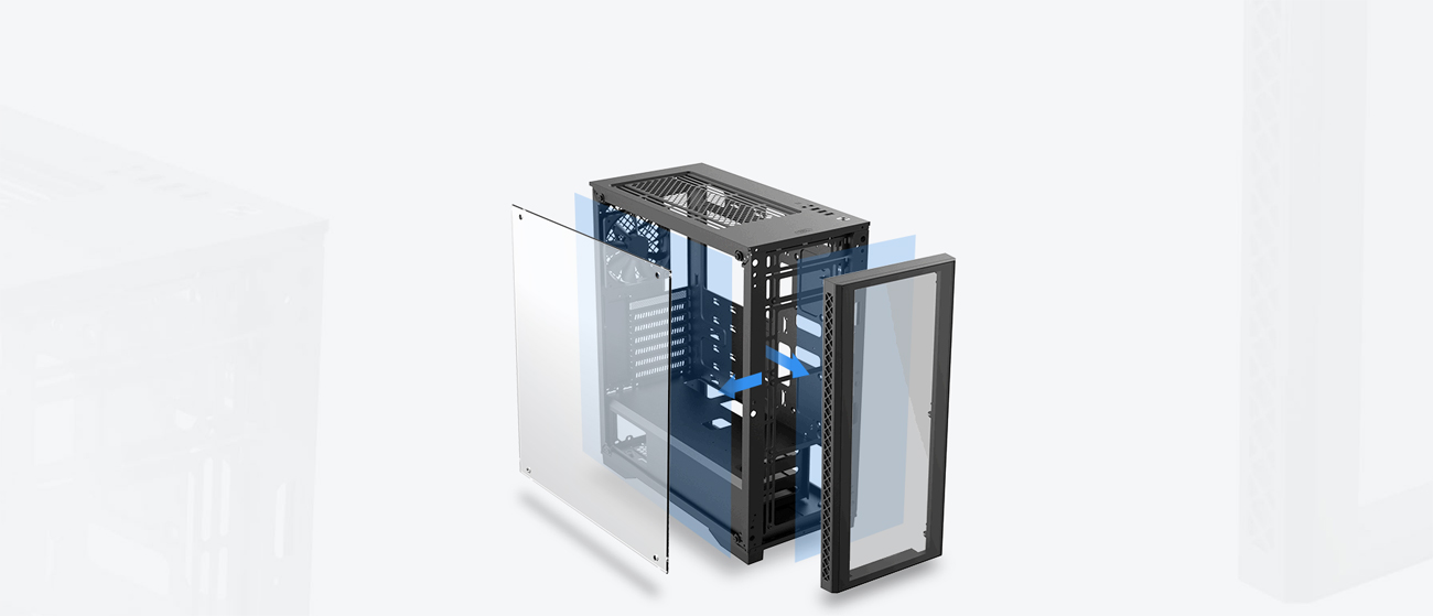 An image shows Deepcool Matrexx 50 ADD-RGB 4F Case Tempered glass side-panel and the front panel.