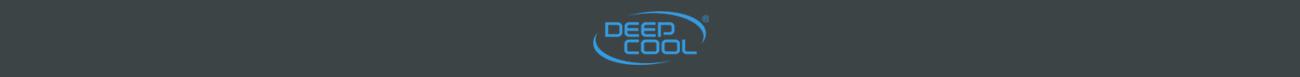 Blue deepcool logo on a dark gray background