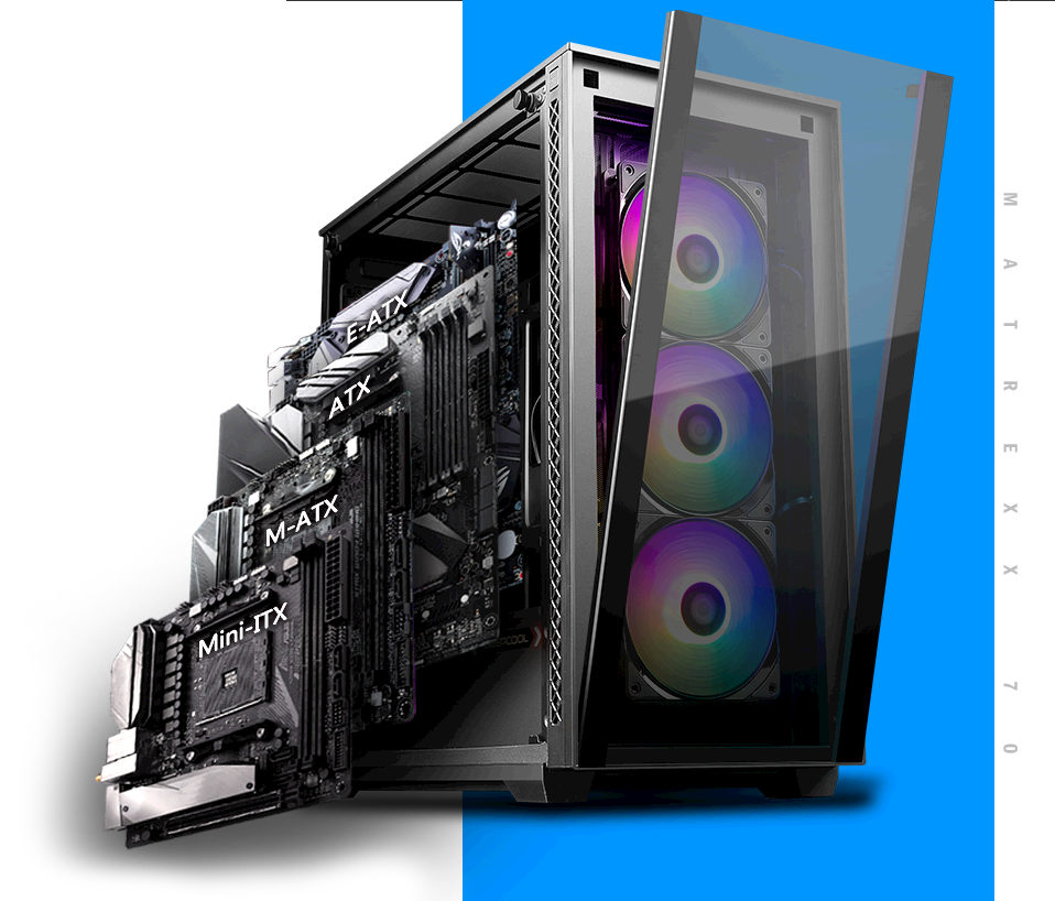 MATREXX 70 3F case facing slightly to the right, with a mini-itx, m-atx, atx and e-atx fitting into the side of the case