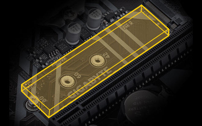 the yellow highlighted M.2 slot on the motherboard