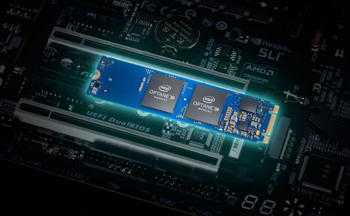Intel Optane Memory mounted on the motherboard