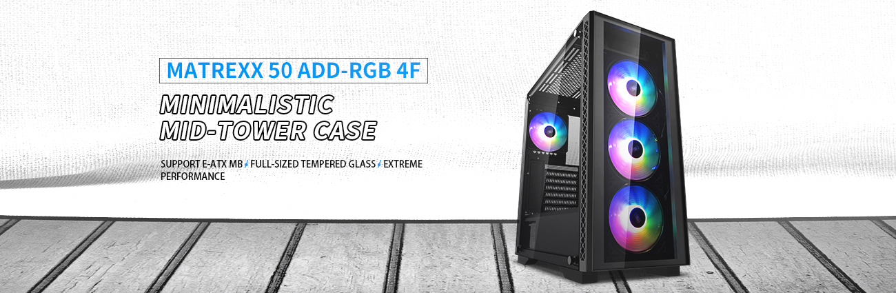 DEEPCOOL MATREXX 50 ADD-RGB 4F Case with Four RGB-Lit Fans, Angled to the Right, Next to Text That Reads: MINIMALISTIC MID-TOWER CASE, SUPPORT E-ATX MB / FULL-SIZED TEMPERED GLASS / EXTREME PERFORMANCE