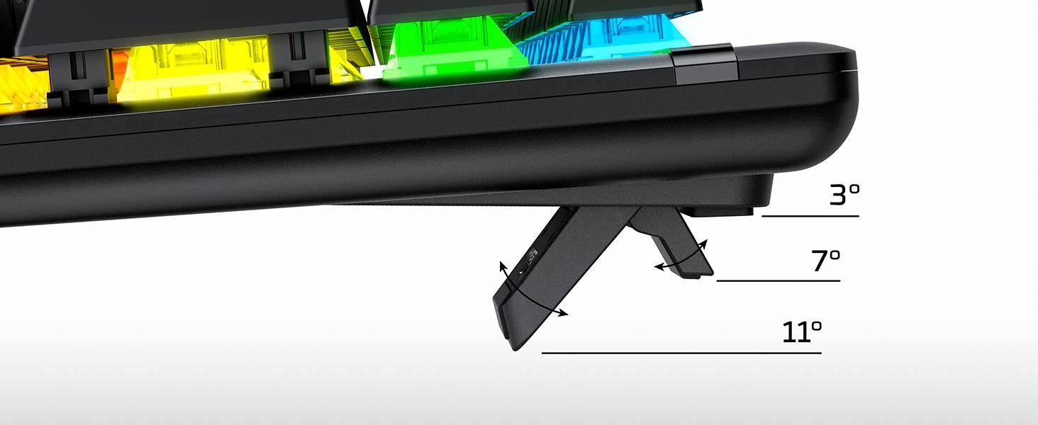 Three adjustable keyboard tilt angles