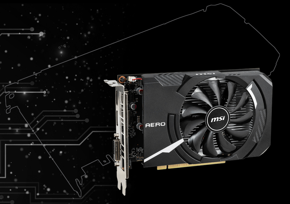 GTX1650AERO ITX4G OC graphics card facing forward in front of a space graphic