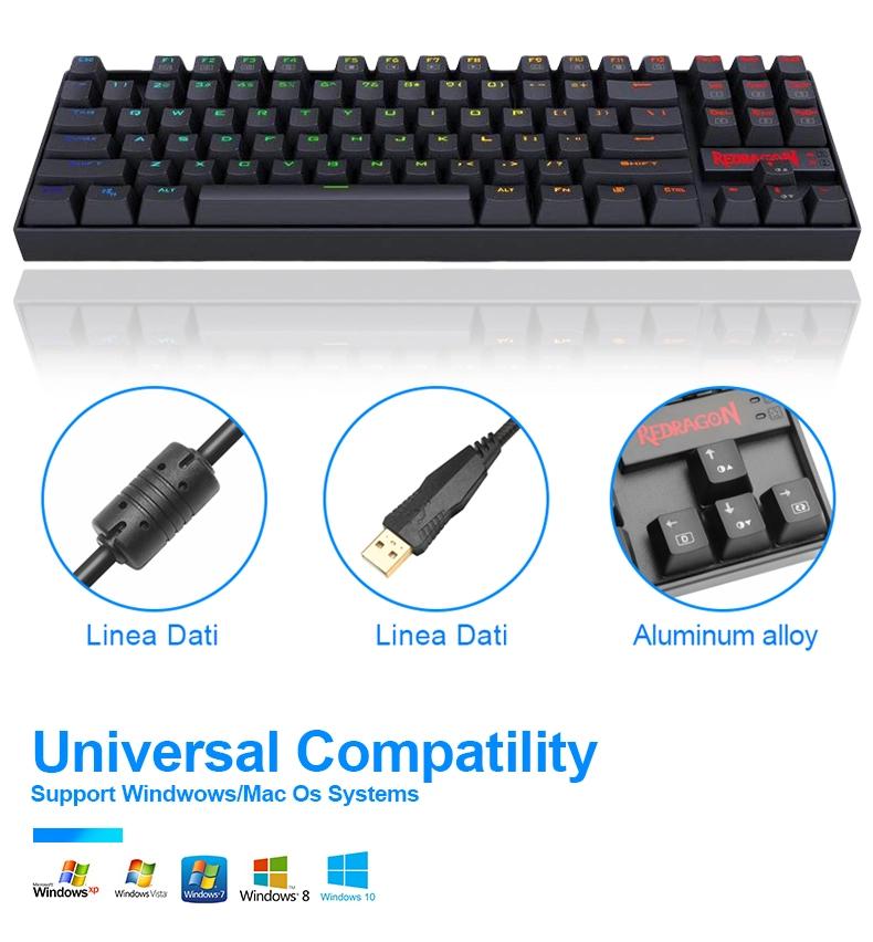 Multimedia Style Redragon K552 Wired Gamer Computer 87 Keys RGB LED Gaming Mechanical Keyboard