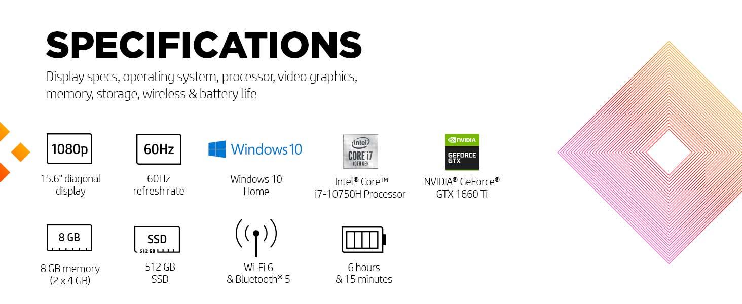 15.6 inch inches display fhd full hd high def definition Windows 10 home 64 bit 60hz hertz refresh