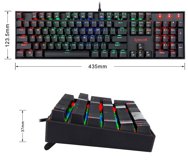 High Quality Redragon K551 Wired 104 Keys RGB Mechanical Gaming Keyboard For Gamer Office