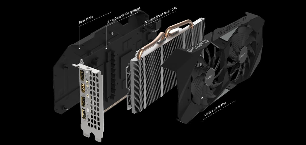 All the Pieces of the GIGABYTE GeForce RTX 2060 Floating Behind One Another, Angled to the Right