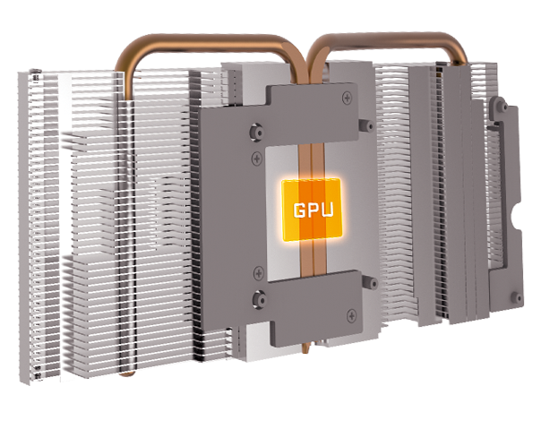 GPU area surrounded by heatpipes and direct-touch heatsink hardware